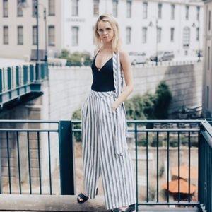 NEW Free People Tuxedo Stripe Wide Leg Pant Set S